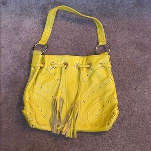Bulga Leather Studded Shoulder Boho Bag